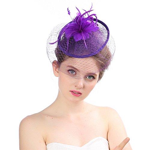 Heqianqian Chapeau Fascinant Fascinator Chapeau Fleur Net Mesh Kentucky Derby Tea Party Chapeaux avec Pince Et Bandeau pour Les Femmes ou Les Filles P