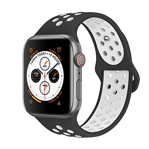 AdMaster Compatible with Apple Watch Bands 42mm 44mm,Soft Silicone Replacement Wristband Compatible with iWatch Series 1/2/3/4/5-M/L Black/White