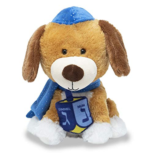 Cuddle Barn | Dreidel Pup 10' Funny Dancing Puppy Stuffed Animal Plush Toy for kids | Celebrates Hanukkah in blue kippah or yarmulke | Sings 'I Have a Little Dreidel'