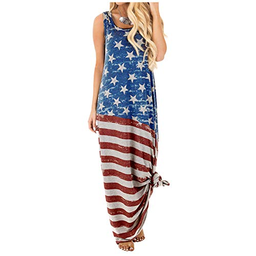 winwintom Maxi Dresses Long Summer Dresses for Women Under $12 Women's Fashion Round-Neck Independence Day Festival Printed Long Skirt Dress Blue XXL