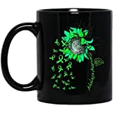 N\A Taza de café de Conciencia de acalasia con Cinta de Girasol Verde, Regalo Negro de 11 onzas para Padres y Amigos
