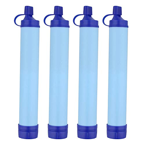 SDS Wasserfilter-Strohhalm, 3 Stück, blau, Wasseraufbereiter, Survival-Outdoor-Werkzeug, tragbarer Wasserfilter für Bachläufe und Seen