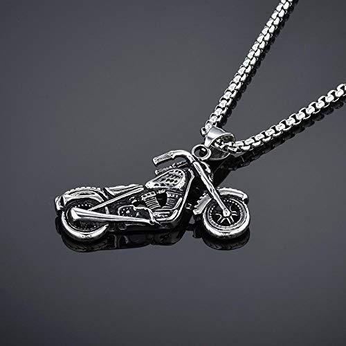 JULYSST - Collar colgante de motocicleta para hombre y deporte Hip Hop joyería de color oro/plata de acero inoxidable cadena declaración collar hombres -plata