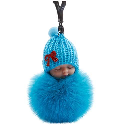 Bascar Schlüsselhalter Kleine Puppe der Schlafenden Babypuppe Niedlicher Baby Bowtie Flaumiger Pompon Pelz Plüsch Puppe Keychain Schlüsselring (D)