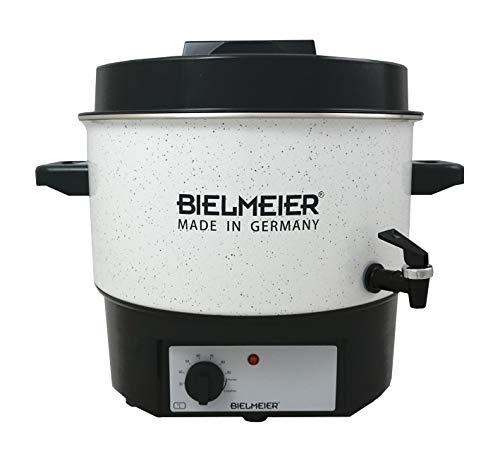 """BIELMEIER Einkochautomat Glühweinkocher Einkochtopf 16 Liter Emaille weiß Auslaufhahn 3/8\"""" 1800 W BHG450.1"""