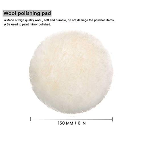 MATCC 5 Pcs 6 Inch Polishing Buffer Wool and Wheel Polishing Pad Woolen Polishing Waxing Pads Kits with M14 Drill Adapter