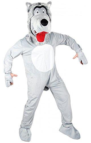 Foxxeo Wolf Kostüm für Erwachsene mit großem Kopf böser Wollfskostüm Maskottchen Overall Tierkostüm Damen Herren Damenkostüm Herrenkostüm Fasching Motto Party Größe XL