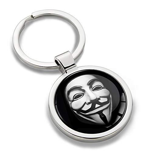 Skino 3D Metal Anonymous Mask V for Vendetta Keyring Key Chain Gift Men Women Keychain Giftbox KK 158