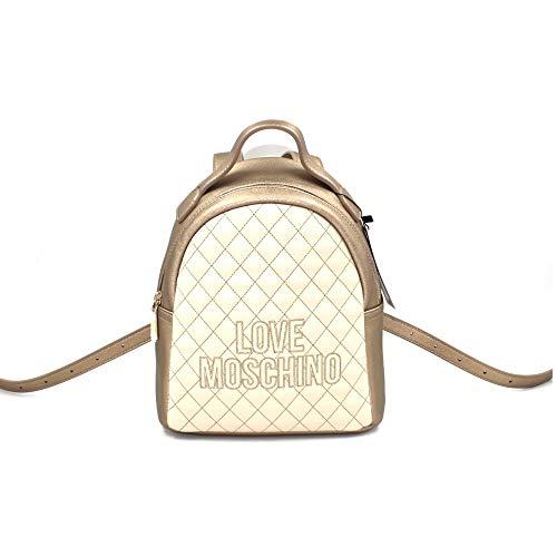Love Moschino Zaino donna trapuntato in ecopelle di colore avorio borsa con chiusura con zip, tasche interne, spallacci regolabili. BIOSABORSE