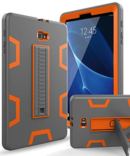 XIQI Samsung Galaxy Tab A 10.1 2016 Case, Three Layer Hybrid Rugged Heavy Duty Shockproof Anti-Slip Case Full Body Protection Cover for Tablet SM-T580/T-585,Grey/Orange