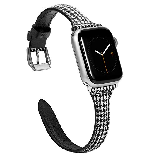 Wearlizer Slim Compatible with Apple Watch Bands 38mm 40mm for iWatch Strap Womens Mens Top Grain Leather with Canvas Grid Wristbands Thin Replacement Leisure Bracelet (Silver Buckle) Series 5 4 3 2 1