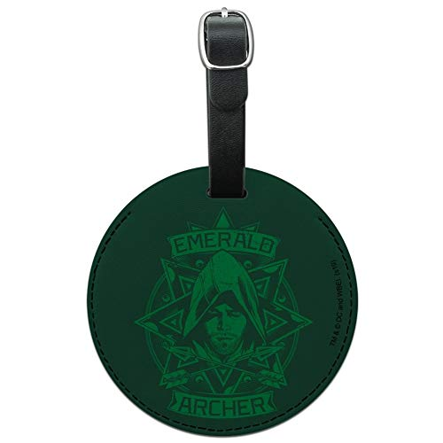 Arrow TV Series Emerald Archer Round Leather Luggage Card Carry-On ID Tag