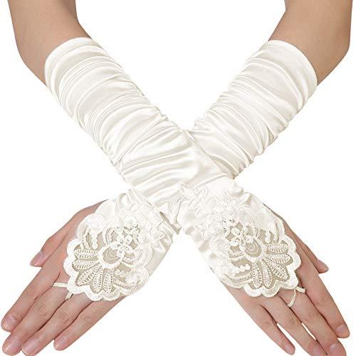 Coucoland Damen Kurze Satin 1920s Handschuhe Dekoriert mit Spitzen und Strass Gotische Halbhandschuhe für Opera Fest Retro Hochzeit Damen Fasching Kostüm Accessoires (38 cm/Elfenbein)