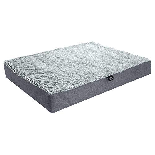 SportPet Designs Deluxe Dog Mattress, Water-Resistant Liner Pet Bed, Reversible, Top Memory Foam - Medium, Gray (CM-10059-CS01)
