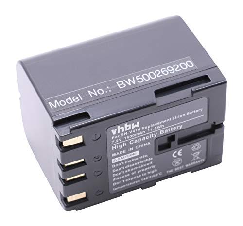 vhbw Li-Ion batería 1600mAh (7.2V) para videocámara, cámara de Video JVC GR-DV4000, GR-DV5000, GR-DVL310, GR-DVL310U por BN-V416, BN-V408.
