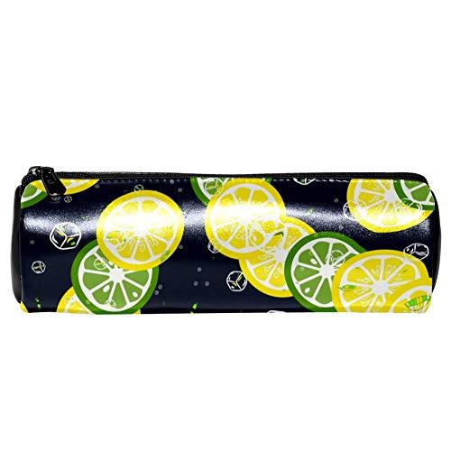 TIZORAX Bleistiftetuis Zitronen-Limetten-Scheiben und Eiswürfel Stifttasche Make-up Kosmetiktasche für Frauen Mädchen Jungen