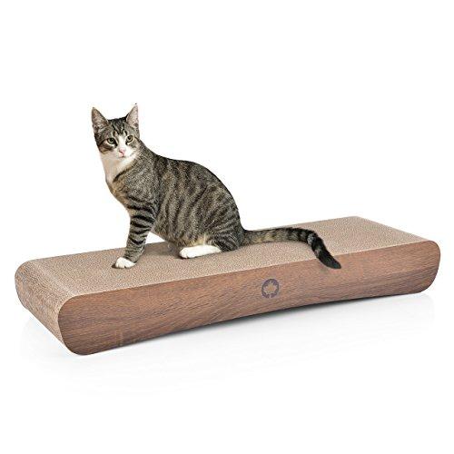 CanadianCat Company Kratzkarton XXL | 86 x 27 x 11,5 cm | Kratzmöbel, Kratzbrett, Kratzkarton | XXL Kratzpappe +Katzenminze | Holzoptik für Katzen