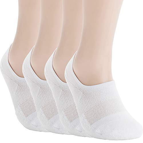 Pro Mountain No Show Socks For Women Cushion Cotton Footies Sports Liner Workout Sneakers Loafer Footies Flats US Women Shoe Size 10-12 Men 9-11 White 4 Pack