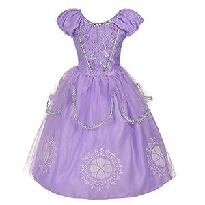 Lito Angels Niñas Disfraz de Princesa Sofía Plateado Disfraces de Halloween Vestido de Fiesta Talla 4-5 años Púrpura