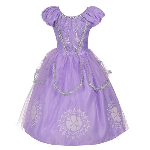 Lito Angels Niñas Disfraz de Princesa Sofía Plateado Disfraces de Halloween Vestido de Fiesta de Lujo Talla 9-10 años Púrpura