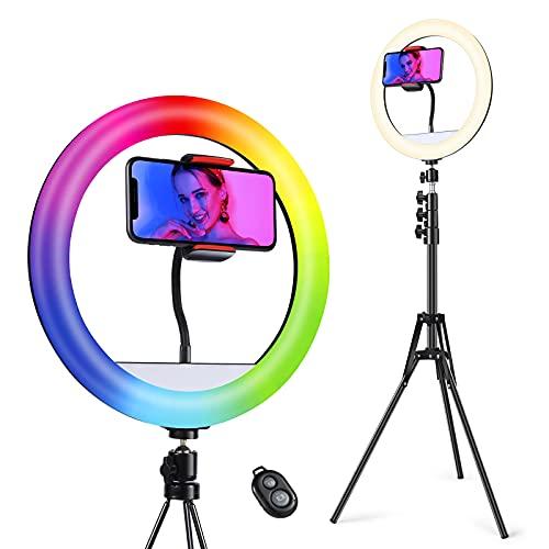 Quntis Selfie Ring Light, 12' Luce Anello LED con Estensibile Treppiede,11 colori 2 Modalità & Luminosità di 10 Livelli, per Youtube,Tik Tok,Selfie,Trucco, streaming, vlog, Fotografia Video