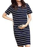 FIRSS Umstandskleid Damen Kleid Streifen Stillkleid Maternity Schwangerschaftskleid Kurzarm Nachthemden für Schwangere Sommerkleid Stillzeit Umstandsmode