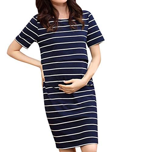 Vrouwen Zwangerschap Jurk O-Hals Zwangere Zomerjurk Korte Mouw Streep Verpleging Jurk Maxi Nachtjassen Borstvoeding Casual Swing Slaapmode Jurk