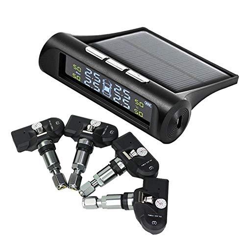 Sistema De Control De PresióN De NeumáTicos Coche Sistema de monitoreo de presión de neumáticos para camión de automóvil SUV solar o USB alimentado con sensores externos e internos 6 modos de alarma