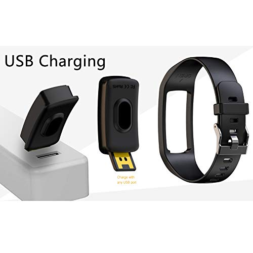 PUBU Fitness Tracker, IP67 Waterproof Fit Watch with Heart Rate Monitor,Sleep Monitor, Pedometer Watch for Women Men Kids (Black)