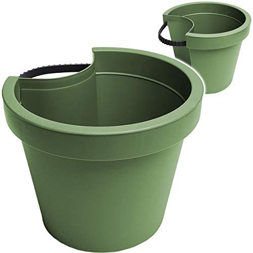 alles-meine.de GmbH 5 Stück _ Rohr & Stangen - Blumenkästen - grün - dunkelgrün Oliv - RUND - 24 cm - Regenrohr / Fallrohr - Pflanzgefäß - Geländer / Zaun - Blumentöpfe / Pflanzk..