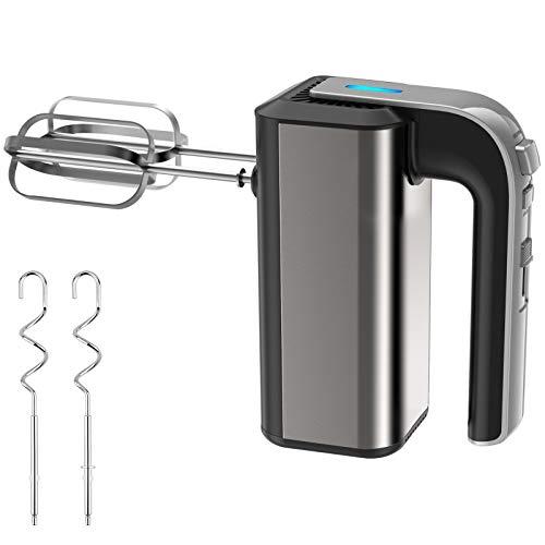 CNXUS Elektrische Handrührer Elektromixer, 500W 5-Gang-Elektro-Schneebesen, Standmixer mit 2 Schneebesen und 2 Edelstahl-Teighaken für Kuchen, Marmeladen und Cremes usw.