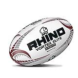 Rhino Vortex Elite Match Ballon de Rugby, Blanc, Size 5