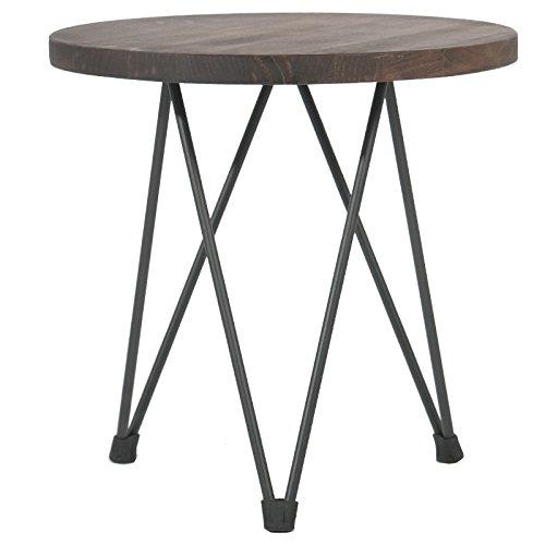 Indhouse Plat – Table d'appoint Style Industriel pour décoration Vintage en Tige en Acier et Bois emerado