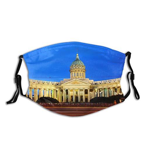 Waschbarer Mundschutz Anti-Staub-Gesichtsschutz,Nachtansicht von St. Petersburg, Russland,Wiederverwendbar winddicht für Outdoor-Ski Radfahren Camping Laufen