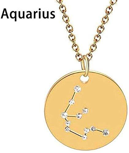 quanjiafu Collar Géminis Libra Astrología Zodiaco Collar Mujeres 12 Constelación Estrella Declaración Joyería Horóscopo Signo Collar