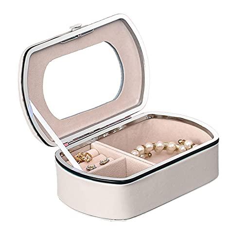 Joyero Rectangular Portátil Para Mujer Jewelry Organizer Mini Caja Almacenamiento Portable Joyería Exterior En Cuero Interior En Terciopelo Con Espejo Para Aretes, Collares, Pulseras, Anillos,