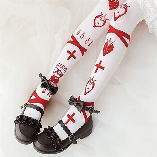 JIANMIN Lolita Strawberry - Calcetines de punto con estampado de fresas para sala de emergencias, para adolescentes y nias, para cosplay (color: blanco, talla: talla nica)