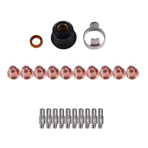 Boquilla de antorcha de plasma 10 piezas 1.1mm consumibles de corte de electrodo de agujero de cobre rojo para antorcha de plasma PT-40//60