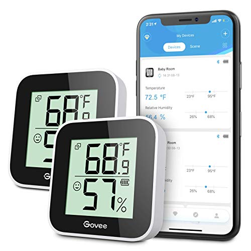 Govee Smart Temperature Humidity Monitor 2-Pack, Indoor Room Thermometer Hygrometer with App Alert, Mini Bluetooth Digital Thermometer Humidity Sensor with Data Storage for Home, Greenhouse, Cellar