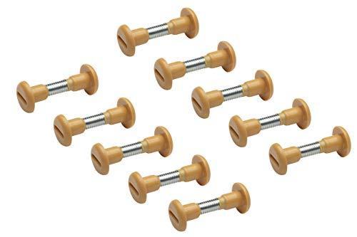 Metafranc Verbindungsschrauben 34 - 41 mm - M6 Gewinde - buchefarben - 10 Stück im Set - Ideal zum Verbinden von Möbelstücken / Möbelverbinder / Schrankverbinder / Möbelschraube / 361746