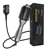 Hair Dryer Brush - Professional Hot Air Brush and Volumizer Blow Dryer 4 in 1 Ionic Technology, Salon Straightening & Curler for Hair Drying, Rotating, Curling, Volumizing for All Hair Types (Gray)