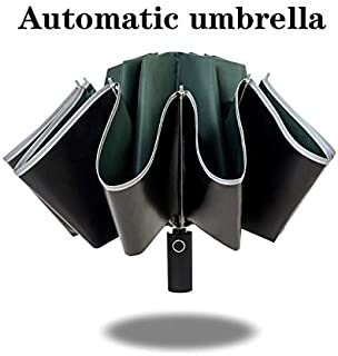 HKXR HHYUKIMI 10 Ribs Black Glue Inverted Umbrella Windproof Anti-UV Automatic Folding Umbrella with Luminous Strips, Safe at Night (Color : White)