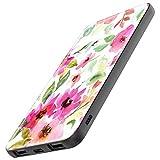 TheSmartGuard Powerbank Batterie Externe 6000 mAh avec Port USB-C pour iPhone XS/XR/X Samsung S10/S9/S8 Note 9 Huawei P30 et Bien Plus Encore, Fleurs Aquarelle Blanche, Rose et Vert