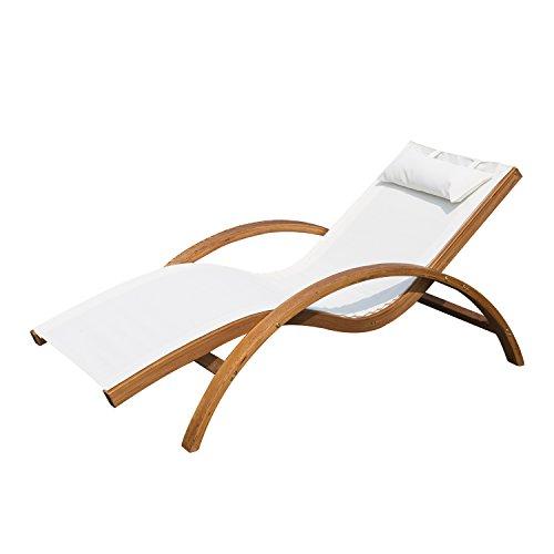 Outsunny Transat Chaise Longue Design Style Tropical Bois Massif Naturel Coloris Beige Blanc