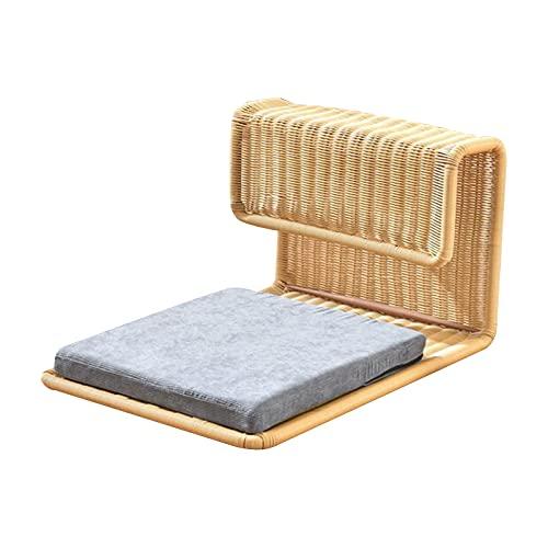 LTINN Rattan fauler Stuhl, Tatami-Sitz, Bettlehnenstuhl Beinloser Hocker mit japanischem Stil, Hocker und Raumstuhl