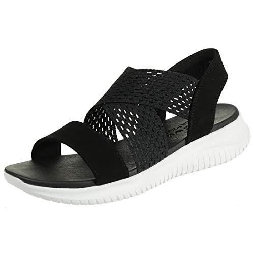 Skechers Ultra Flex-Neon Star, Sandalias de Talón Abierto Mujer, Negro (BLK Black Gore/Mitobuck Trim), 38 EU