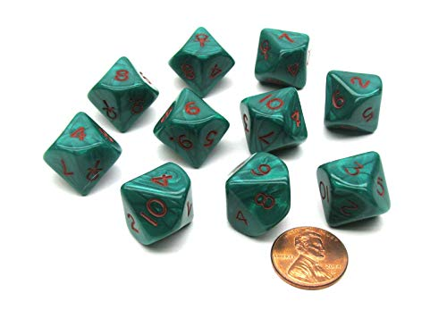Chessex Dice Ankh Green/Red Pearlized d10 10-Die Set