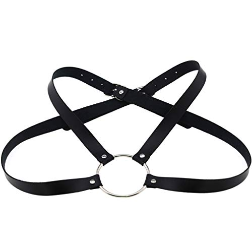 JOYKK Hombres Mujeres Faux Leather Body Chest Half Harness Belt Cross Correas de Hebilla Ajustables con O-Ring Costume Party Clubwear - 2#