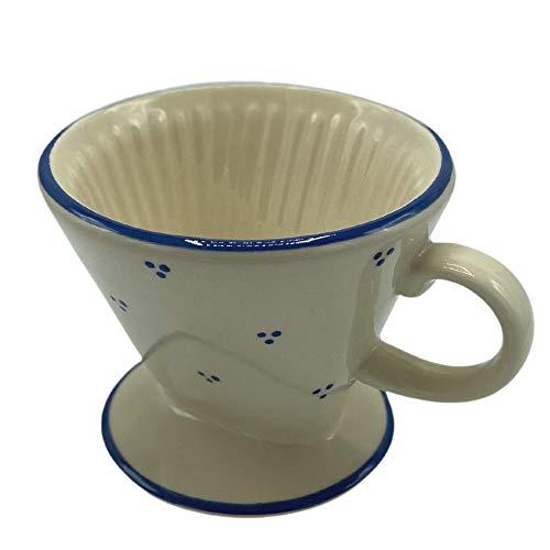 Keramik Rheinsberg® Mehrweg Kaffeefilter für Filter-Kaffee, mit Henkel, drei Durchlauflöcher, Dreipunkt-Design und Landhaus-Design, handgefertigt in Deutschland (Nur Kaffeefilter, Landhaus)