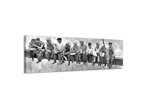 Lienzo decorativo panorámico, de trabajadores en la ciudad de Nueva York, lienzo de pared, lienzo artístico, imagen vintage antigua en blanco y negro, negro/blanco, 158x46cm